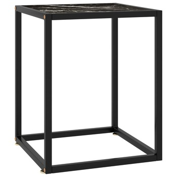 vidaXL Stolić za kavu crni s crnim mramornim staklom 40 x 40 x 50 cm