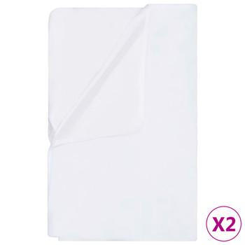 vidaXL Vodootporne presvlake za madrac 2 kom pamučne 200x200 cm bijele