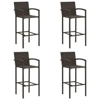 vidaXL Barski stolci od poliratana 4 kom smeđi