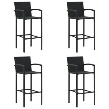 vidaXL Barski stolci od poliratana 4 kom crni