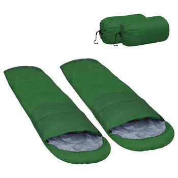 vidaXL Lagane vreće za spavanje 2 kom zelene 15 ℃ 850 g