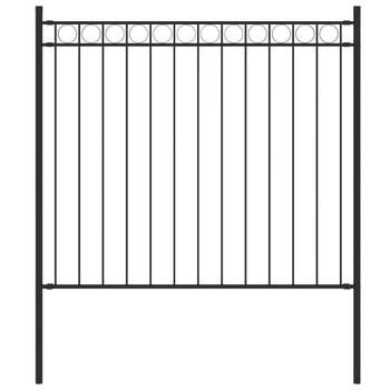 vidaXL Vrtna ograda čelična 1,7 x 0,8 m crna
