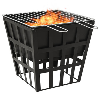 vidaXL 2-u-1 posuda za vatru i roštilj 34 x 34 x 48 cm čelična
