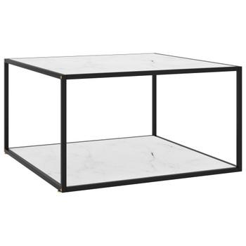 vidaXL Stolić za kavu crni s bijelim mramornim staklom 90 x 90 x 50 cm