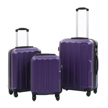 vidaXL 3-dijelni set čvrstih kovčega ljubičasti ABS
