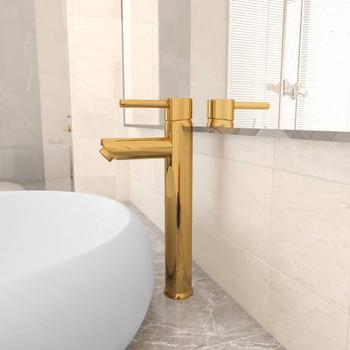 vidaXL Kupaonska miješalica zlatna 12 x 30 cm