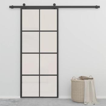 vidaXL Klizna vrata od aluminija i ESG stakla 90 x 205 cm crna