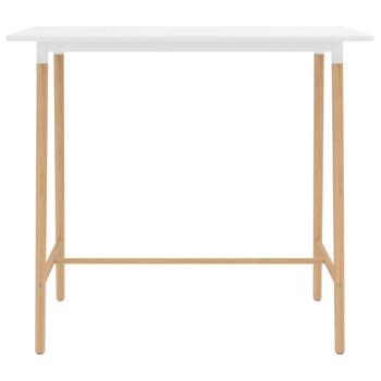 vidaXL Barski stol bijeli 120 x 60 x 105 cm MDF i masivna bukovina