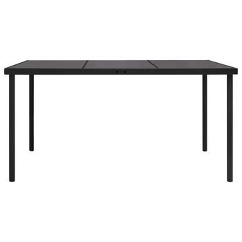 vidaXL Vrtni stol sa staklenom pločom crni 150 x 90 x 74 cm čelični