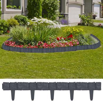 vidaXL Ograda za travnjak s izgledom kamena 41 kom plastična 10 m
