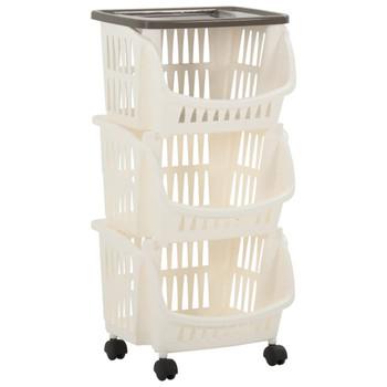 vidaXL Kuhinjska kolica bijela i smeđe-siva