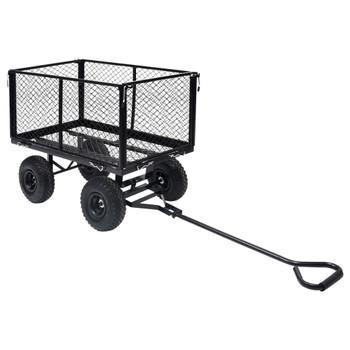 vidaXL Vrtna ručna kolica crna 350 kg