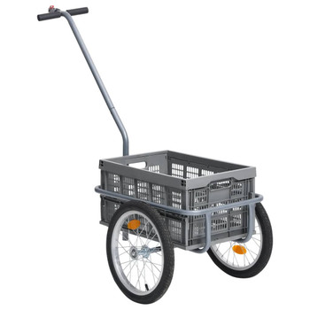 vidaXL Prikolica za bicikl sa sklopivom kutijom od 50 L siva 150 kg