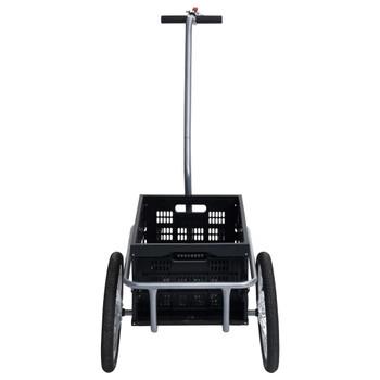 vidaXL Prikolica za bicikl sa sklopivom kutijom od 50 L crna 150 kg