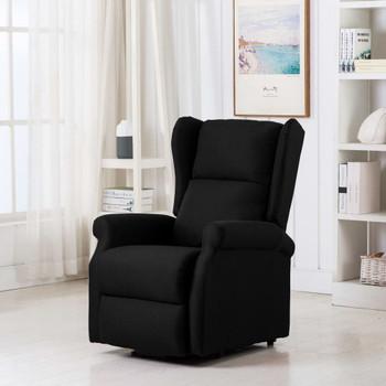 vidaXL Masažna fotelja na podizanje od tkanine crna