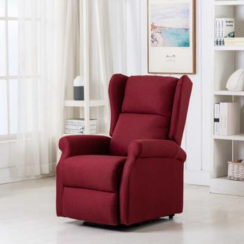 vidaXL Masažna fotelja na podizanje od tkanine crvena boja vina