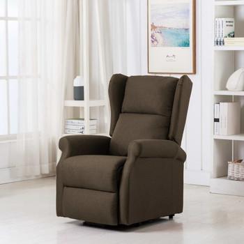 vidaXL Masažna fotelja na podizanje od tkanine smeđa