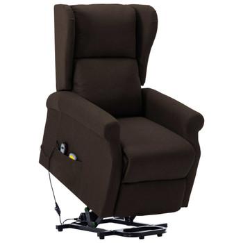 vidaXL Masažna fotelja na podizanje od tkanine tamnosmeđa