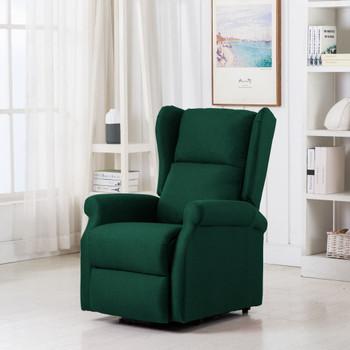 vidaXL Masažna fotelja na podizanje od tkanine tamnozelena