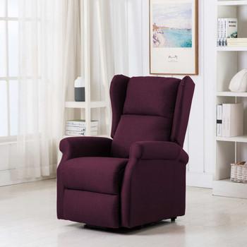 vidaXL Masažna fotelja na podizanje od tkanine ljubičasta