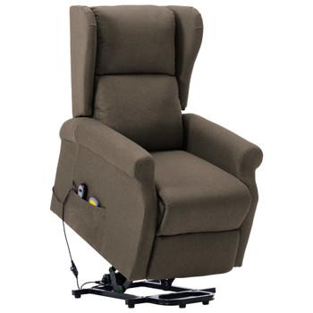 vidaXL Masažna fotelja na podizanje od tkanine smeđe-siva