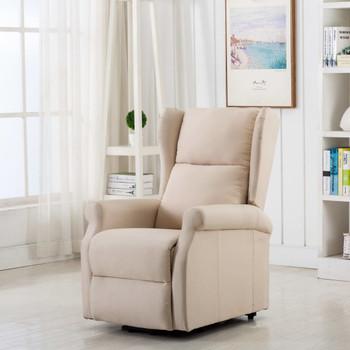 vidaXL Masažna fotelja na podizanje od tkanine krem