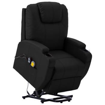vidaXL Masažna fotelja na podizanje od umjetne kože crna