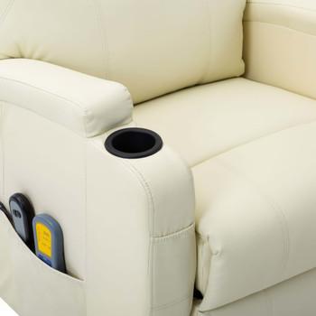 vidaXL Masažna fotelja na podizanje od umjetne kože krem-bijela