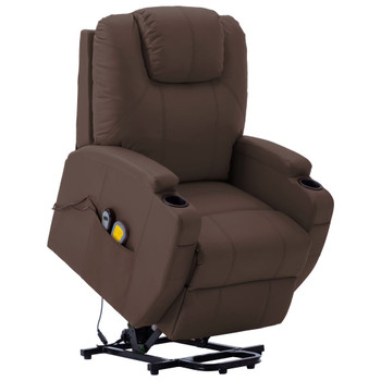 vidaXL Masažna fotelja na podizanje od umjetne kože smeđa