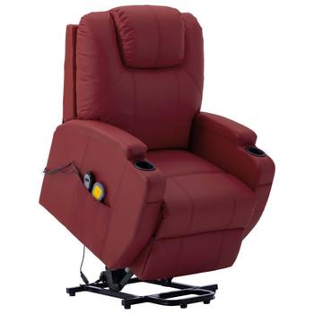 vidaXL Masažna fotelja na podizanje od umjetne kože crvena boja vina