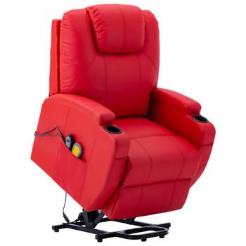 vidaXL Masažna fotelja na podizanje od umjetne kože crvena