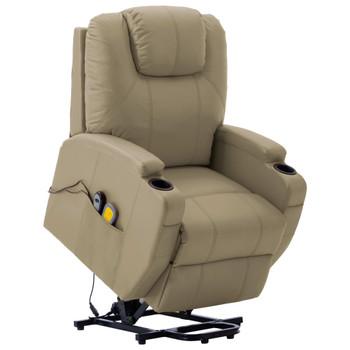 vidaXL Masažna fotelja na podizanje od umjetne kože boja cappuccina