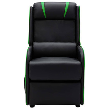 vidaXL Masažni naslonjač od umjetne kože crno-zeleni
