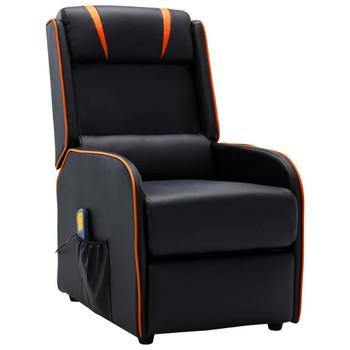 vidaXL Masažni naslonjač od umjetne kože crno-narančasti