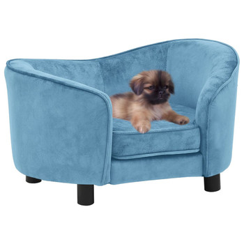 vidaXL Sofa za pse tirkizna 69 x 49 x 40 cm plišana