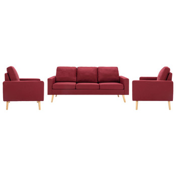 vidaXL 3-dijelni set sofa od tkanine crvena boja vina