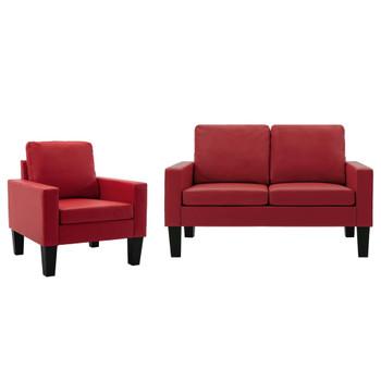 vidaXL 2-dijelni set sofa od umjetne kože crveni