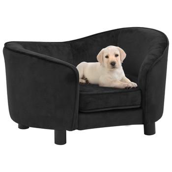 vidaXL Sofa za pse crna 69 x 49 x 40 cm plišana