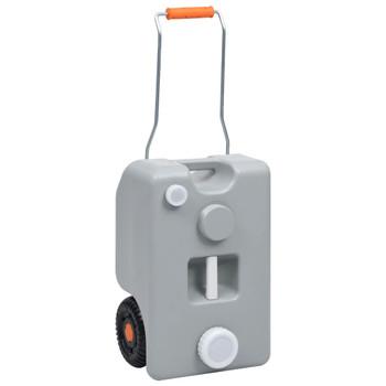 vidaXL Spremnik za vodu na kotačima za kampiranje 25 L sivi