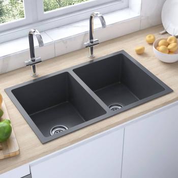 vidaXL Ručno rađeni kuhinjski sudoper od nehrđajućeg čelika crni