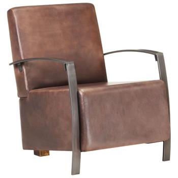 vidaXL Fotelja od prave kože pohabana smeđa
