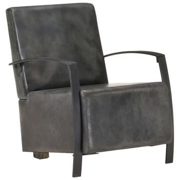 vidaXL Fotelja od prave kože pohabana siva