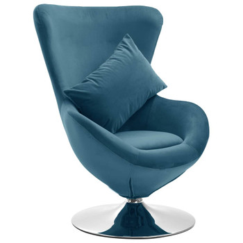 vidaXL Okretna jajolika stolica s jastukom plava baršunasta