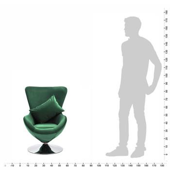 vidaXL Okretna jajolika stolica s jastukom tamnozelena baršunasta