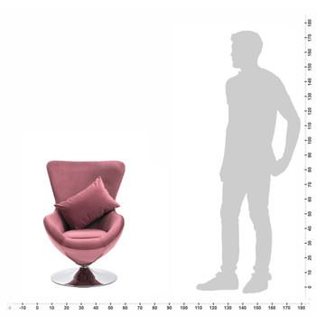 vidaXL Okretna jajolika stolica s jastukom ružičasta baršunasta