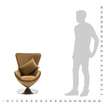 vidaXL Okretna jajolika stolica s jastukom smeđa baršunasta