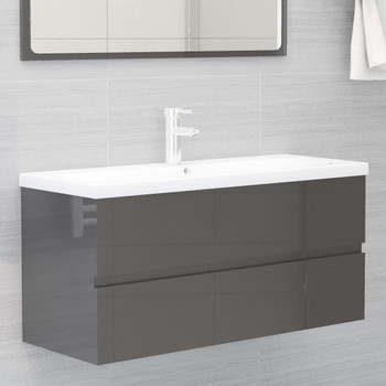 vidaXL Ormarić za umivaonik visoki sjaj sivi 100x38,5x45 cm od iverice