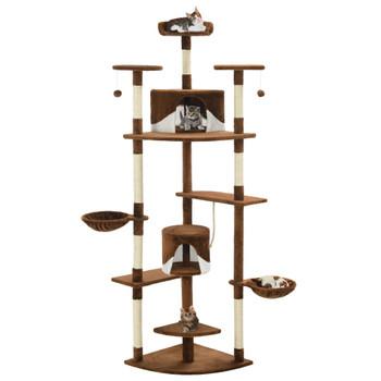 vidaXL Penjalica za mačke sa stupovima za grebanje od sisala 203 cm smeđa i bijela