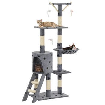 vidaXL Penjalica za mačke sa stupovima za grebanje od sisala 138 cm siva s uzorkom šapa