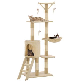 vidaXL Penjalica za mačke sa stupovima za grebanje od sisala 138 cm bež